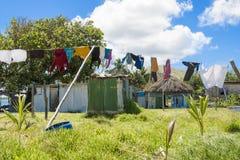 Washing on line in Fiji. Washing drys in the sun in Fiji Stock Photo