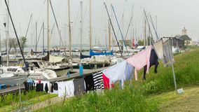 Washing  line in the harbour of Durgerdam Holland Royalty Free Stock Photography