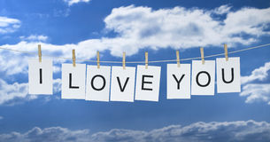 Washing Line with i love you. Stock Image