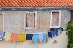Washing-line Outside A House In Dubrovnik Stock Image