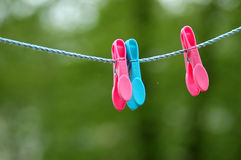 Washing line pegs. Pegs on washing line Royalty Free Stock Photos
