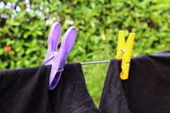 Washing line and pin clothes with t-shirt Stock Image