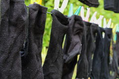 Washing line with socks Stock Photo