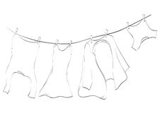 Washing lines. Line art of washing lines with drying clothes, vector illustration Stock Photography