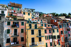 Washing Lines with Clothes in Riomaggiore Royalty Free Stock Photography