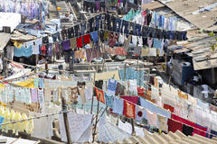 Washing lines laundry patterns Dhobhi Ghat. Mumbai, Dhobhi Ghat, India, community at work and clothes drying on washing lines at commercial laundry Stock Image