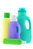 Washing Liquid, Laundry Detergent, Bleach. Bottles of Washing Liquid, Laundry Detergent, Bleach isolated on white background royalty free stock photo