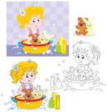 Washing. Little girl washing her toy bear and rabbit in a big basin royalty free illustration