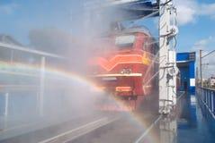 Washing locomotive Stock Photo