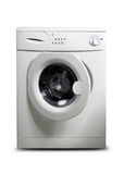 Washing machine. Movable washing machine isolated background Stock Image
