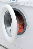 Washing machine. White washing machine with open door Royalty Free Stock Photography