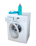 Washing machine. And laundry powder for washing Royalty Free Stock Images