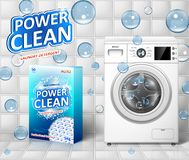 Washing machine ad. Stain remover banner design with realistic washing machine and laundry detergent package with clean vector illustration