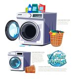 Washing machine with basket with washing powder and Hygiene liqu. Washing machine  with basket with washing powder and Hygiene liquid. typographic or logo Stock Photos