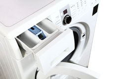 Washing machine. Beautiful shot of washing machine on white background royalty free stock images