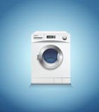 Washing machine on blue, vector Stock Photos