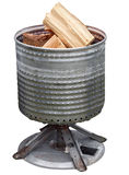 Washing Machine bowl brazier with wood Stock Image