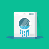 Washing machine broken vector illustration, flat cartoon damaged washer with flowing water on floor Royalty Free Stock Photography