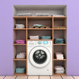 Washing machine with built-in wall shelves. With towels Royalty Free Stock Image