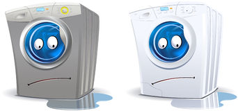 Washing machine character (leaks) Stock Photography
