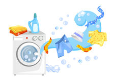 A washing machine and clean clothes. Vector illustration Royalty Free Stock Photos