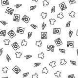 Washing Machine Cleaning T-shirt Seamless Pattern stock illustration