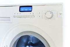 The washing machine - a close up of the display and a choice of programs.  Stock Images