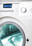 The washing machine, close up of the display, the manhole royalty free stock image