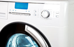 Washing machine - a close up of the display, the manhole and a choice of programs Royalty Free Stock Image