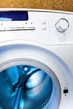The washing machine - a close up of the display, the manhole and a choice of programs Stock Photos