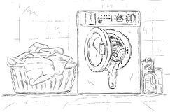 Washing machine, clothes Royalty Free Stock Photo