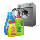 Washing machine and detergent bottles Stock Images