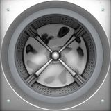 Washing Machine Drum. A closeup from the outside of an industrial washing machine looking inwards towards the open door and empty drum - 3D render stock illustration