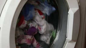 Washing machine drum. With linen stock video footage