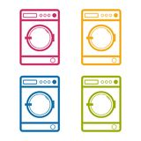 Washing Machine - Front View - Colorful Editable Vector Illustration - Isolated On White. Background Stock Photo