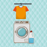 Washing machine hang tshirt detergent Royalty Free Stock Photos