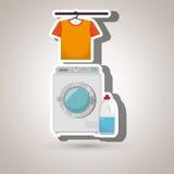 Washing machine hang tshirt detergent Stock Photo