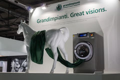 Washing machine with horse at Host in Milan, Italy Stock Images