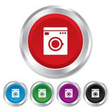 Washing machine icon. Home appliances symbol. Stock Photo