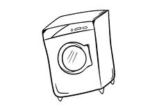 Washing machine icon vector with doodle style. Washing machine work  home  icon vector with drawing doodle style for background Stock Images