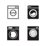 Washing machine icons ser. Washing machine icons set. Black on a white background Royalty Free Stock Photos