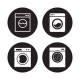 Washing machine icons ser. Washing machine icons set. White on a black background Stock Image