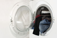 Washing machine and laundry Royalty Free Stock Image