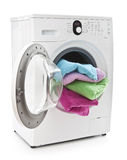 Washing machine with laundry Stock Photo
