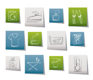 Washing machine and laundry icons stock illustration