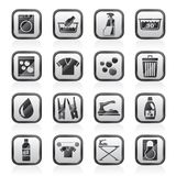 Washing machine and laundry icons royalty free illustration