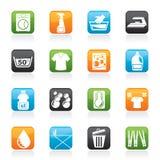 Washing machine and laundry icons Royalty Free Stock Image