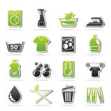 Washing machine and laundry icons Stock Image