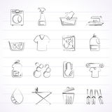Washing machine and laundry icons Royalty Free Stock Photography