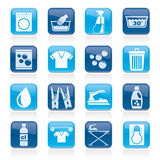 Washing machine and laundry icons Stock Images